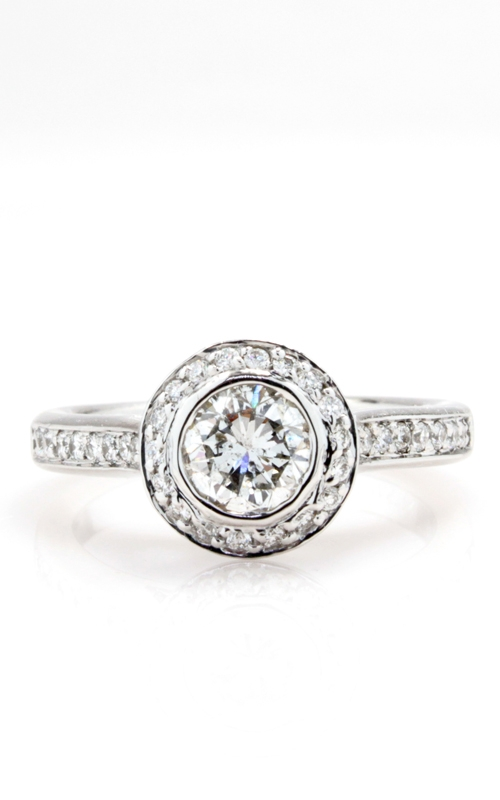14K White Gold Diamond Halo Engagement Ring product image