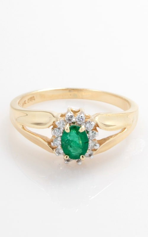 14K Oval Emerald & Diamond Ring, DRPL01401 product image