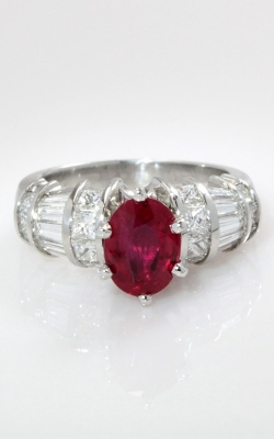Platinum Diamond & Oval Ruby Ring DRPL06442 product image