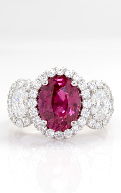 3.07ct Oval Ruby & Diamond Three Stone Ring product image