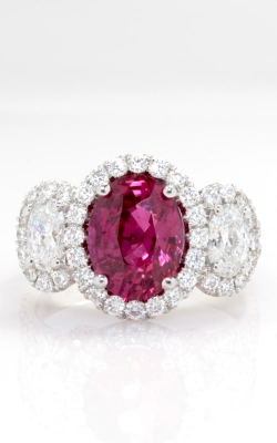 3.07ct Oval Ruby & Diamond Three Stone Ring DRPL09573 product image