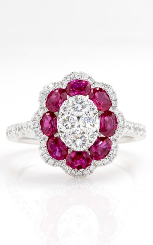 14K Diamond & Oval Ruby Floral Ring DRPL09957 product image