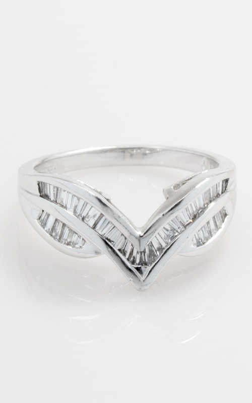Platinum V-Shaped Baguette Diamond Band product image