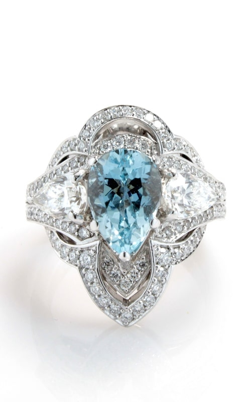 14K White Gold Pear Aqua & Diamond Ring DRSP12625 product image