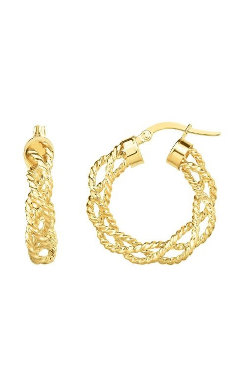 14K Yellow Gold Braided & Textured Hoop Earrings ER5715 product image
