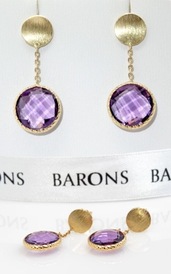 14K Yellow Gold & Amethyst Dangle Earrings, Item# JERP02384 product image