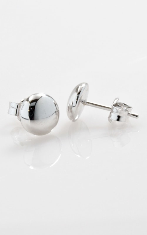 14K White Gold Button Stud Earrings product image