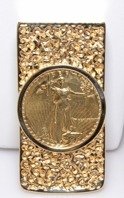 14K Gold Money Clip with 1987 $25 Liberty Coin #JMCG00190 product image