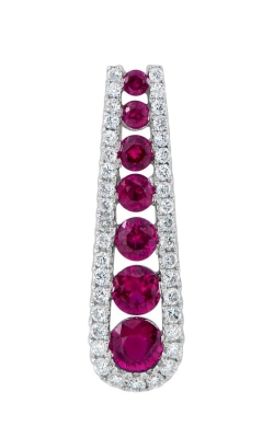 14K White Gold Diamond & Ruby Pendant DPP05390 product image