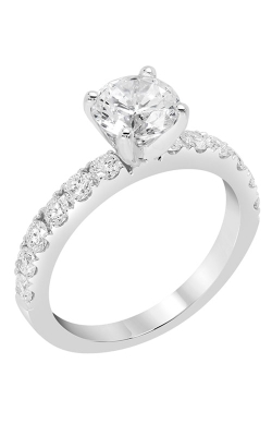 14K White Gold Classic Sidestone Engagement Ring, Style R11213W product image