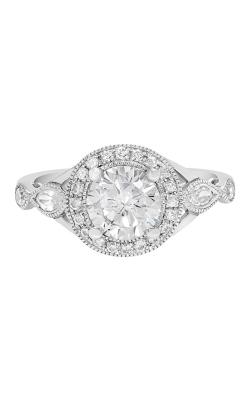 14K Vintage Style Diamond Engagement Ring with Halo BARON00028-W product image