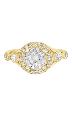 14K Vintage Style Diamond Engagement Ring with Halo BARON00028-Y product image