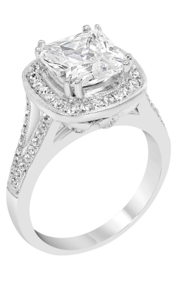 14K White Gold Vintage Split Shank Halo Engagement Ring, Style R11434W product image
