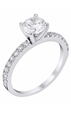 14K White Gold Classic Sidestone Engagement Ring, Style R11455 product image