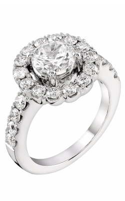14K White Gold Round Halo Engagement Ring, Style R11603W product image