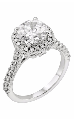 14K White Gold Cushion Halo Vintage Engagement Ring, Style R11721W product image