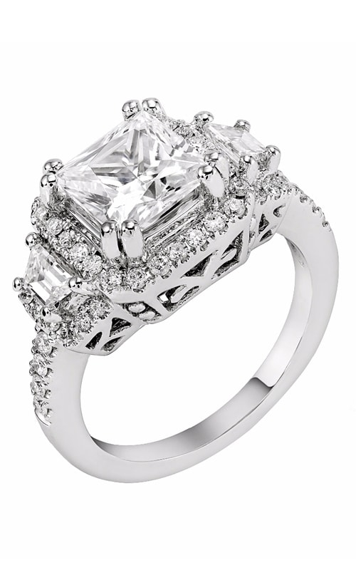 14K Cushion Halo Three Stone Engagement Ring R11722 product image