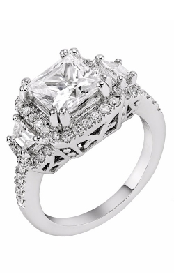 14K White Gold Cushion Halo Three Stone Engagement Ring, Style R11722W product image