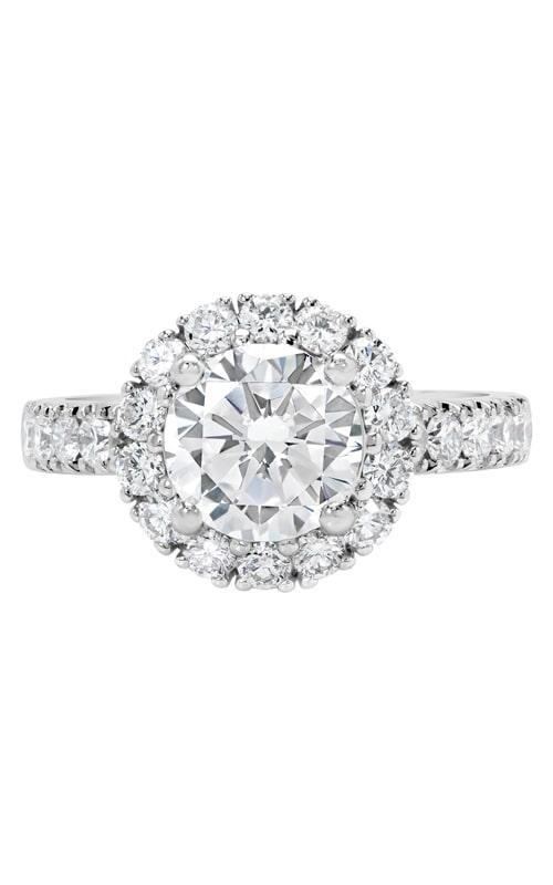 14K Two-Tone Vintage Style Diamond Halo Engagement Ring product image