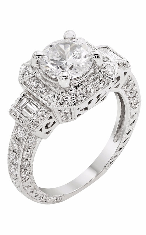 14K Cushion Halo Three Stone Vintage Engagement Ring R11856 product image