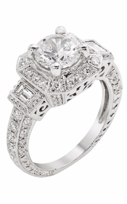 14K White Gold Cushion Halo Three Stone Vintage Engagement Ring, Style R11856 product image