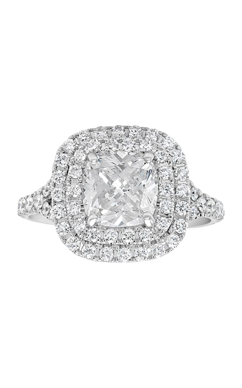14K Double Cushion Halo Diamond Engagement Ring product image