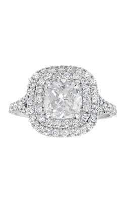 14K Double Cushion Halo Diamond Engagement Ring BARON00125 product image