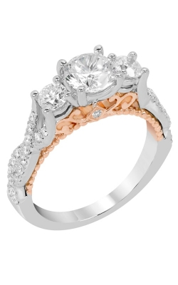 14K White & Pink Gold Three Stone Engagement Ring, Style R12446PW product image