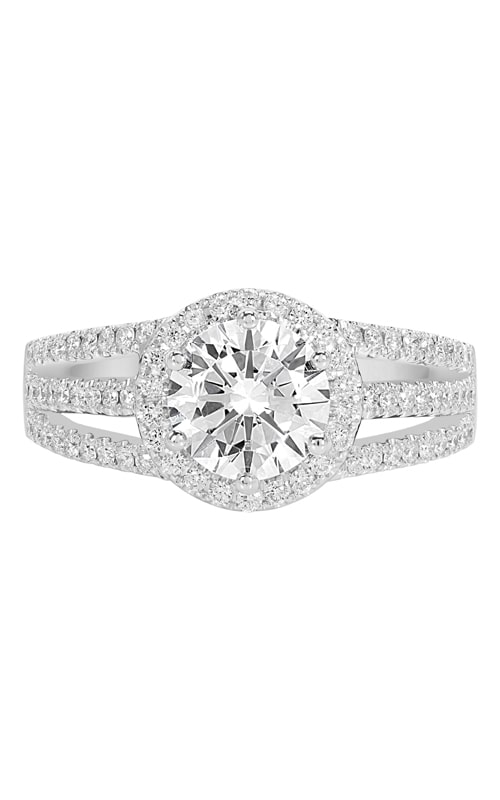 14K Split Shank Round Halo Diamond Engagement Ring product image
