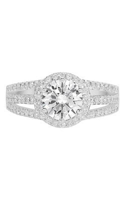 14K Split Shank Round Halo Diamond Engagement Ring BARON00141 product image