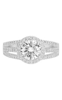 14K Split Shank Round Halo Diamond Engagement Ring BARON00141 product image