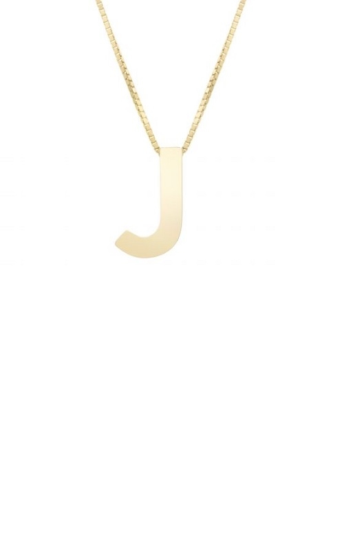 14K INITIAL J PENDANT WITH 18IN BOX CHAIN product image