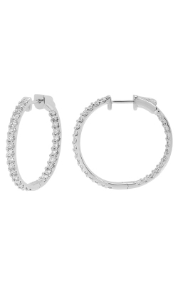 14K White Gold, Diamond Round Hoop Earrings Style RE22557W product image