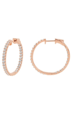 14K Rose Gold, Diamond Round Hoop Earrings Style RE22557P product image