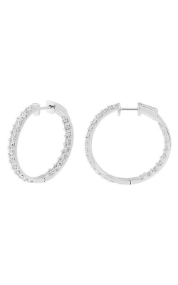 14K White Gold, Diamond Round Hoop Earrings Style RE22559W product image