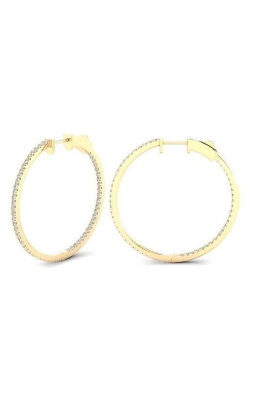 14K Diamond Round Hoop Earrings RE22695C3-Y product image