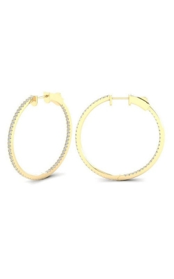 14K Yellow Gold, Diamond Round Hoop Earrings Style RE22695C3-Y product image