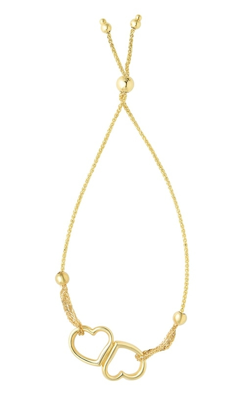 14K Yellow Gold Double Open Heart Bracelet N4206-0925 product image