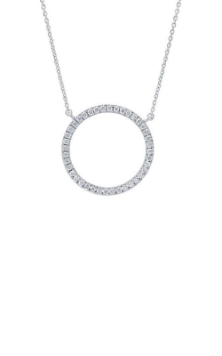 14K White Gold Diamond Circle Necklace with Chain, Style RP33806 product image