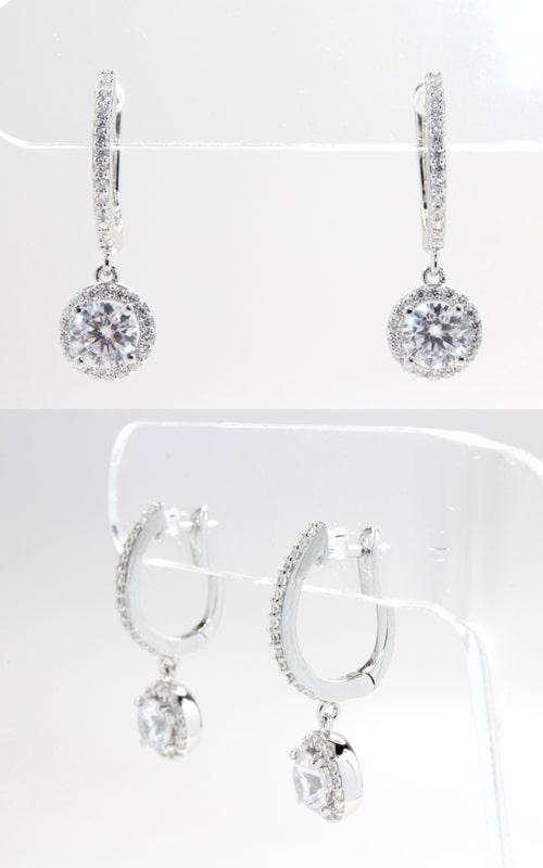 Silver CZ Hoop & Dangle Round Stud Earrings product image