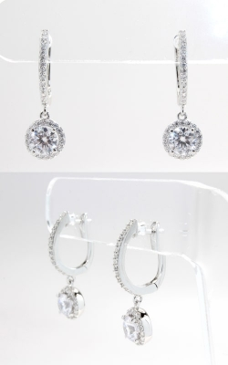 Silver CZ Hoop & Dangle Round Stud Earrings, SCZGT00414 product image