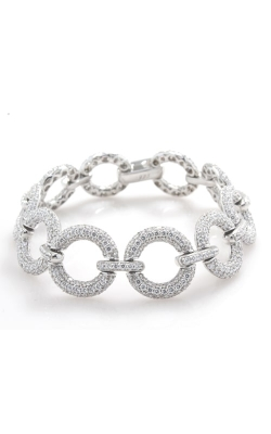 "Silver CZ Open Circle 7"" Link Bracelet, SCZGT00539 product image"