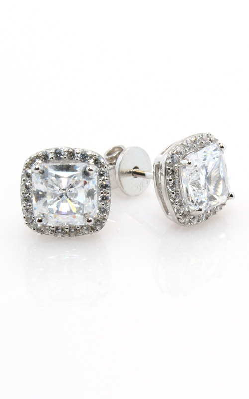 Silver Square CZ Stud Earrings #SCZGT00703 product image