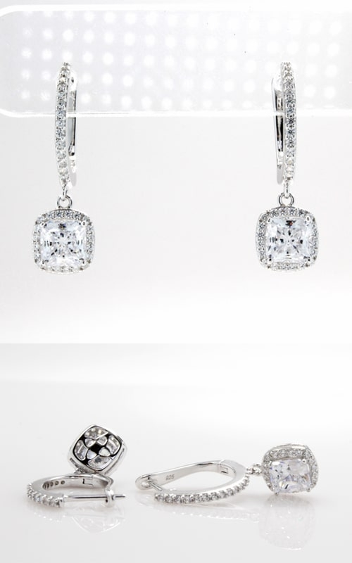 Silver CZ Hoop & Princess Stud Dangle Earrings product image