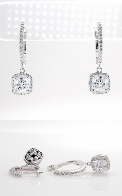Silver CZ Hoop & Princess Stud Dangle Earrings, SCZGT01018 product image