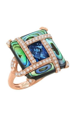 Bellarri Anastasia 14K Rose Gold Diamond, London Blue Topaz, & Abalone Ring, Style R9034PG14ABL product image