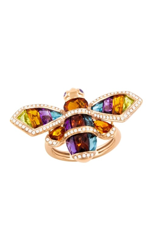 Queen Bee 14K Diamond & Mulitcolor Ring R9342PG14CM-SO product image