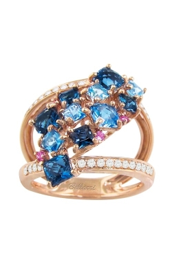 Lily 14K Rose Gold Diamond, Blue Topaz, & Pink Sapphire Ring, Style R9352PG14BTP product image