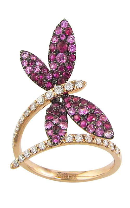 Princessa 14K Diamond & Pink Sapphire Butterfly Ring R9393PG14PS-SO product image