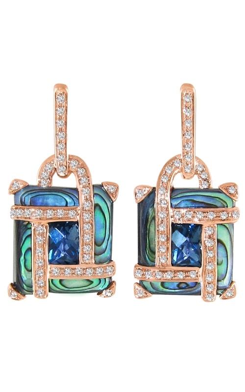 Anastasia 14K Diamond, Abalone, & Topaz Earrings product image